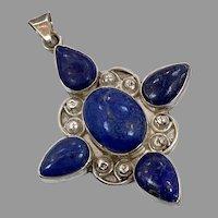 Lapis Pendant, Vintage Pendant, Sterling Silver, Blue Stone, Ethnic, Big