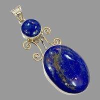 Blue Lapis Pendant, Vintage Pendant, Lapis Lazuli, Sterling Silver, Multi Stones, Long, Brass, Big, Boho Jewelry, Large Statement, Bohemian