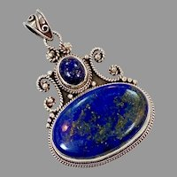 Blue Lapis Pendant, Vintage Pendant, Lapis Lazuli, Sterling Silver, Long, Big, Boho Jewelry, Large Statement, Bohemian, Ethnic