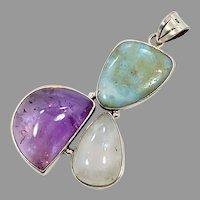 Moonstone Pendant, Amethyst, Larimar, Sterling Silver, Vintage Pendant, Mixed Stones, Multi Stones