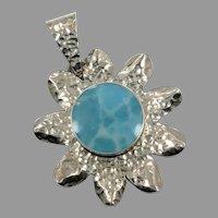 Sun Pendant, Larimar Pendant, Sterling Silver, Vintage Pendant, Big Stone, Mexico, Blue Pendant, Dolphin Stone, Statement, Unique Unusual