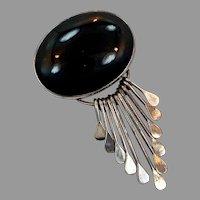 Black Onyx Pendant, Sterling Silver, Mexico, Vintage Pendant, Pin Brooch, Big Pendant, Large Stone, Black Pendant
