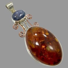 Amber Pendant, Kyanite, Vintage Pendant, Sterling Silver, Honey Amber, Mixed Metals, Copper, Big, Large