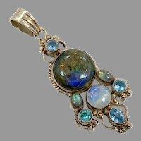 Labradorite Pendant, Moonstone, Sterling Silver, Vintage Pendant, Large, Boho Bohemian, Ethnic, Mixed Stones, Multi Stones