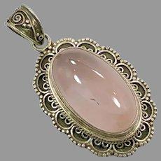 Rose Quartz Pendant, Sterling Silver, Vintage Pendant, Large Stone, Pink Pendant, Vintage Necklace, Pink Jewelry, Boho Bohemian, New Age