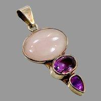 Rose Quartz Pendant, Amethyst, Sterling Silver, Designer, Charles Albert, Vintage Pendant, Pink Pendant, Gemstones Price: