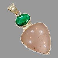Rose Quartz Pendant, Malachite, Sterling Silver, Vintage Pendant, Large Stone, Pink Pendant