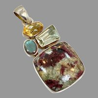 Ruby Zoisite Pendant, Labradorite, Green Amethyst, Citrine, Sterling Silver, Vintage Pendant, Big Stones, Large