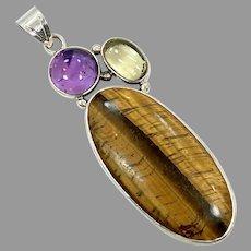 Tiger Eye Pendant, Amethyst, Citrine, Sterling Silver, Vintage Pendant, Large, Big, Multi, Mixed Stones