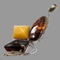 "Amber Pendant, Huge, Honey Amber, Butterscotch Amber, Sterling Silver, 4"" Long, Baltic Amber, Vintage Pendant, Modern, Contemporary"