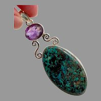 "Turquoise Pendant, Purple Amethyst, Sterling Silver, 3"" Long, Big Statement, Huge Pendant, Purple Stone, Vintage Pendant"