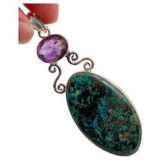 "Turquoise Pendant, Purple Amethyst, Sterling Silver, 3"" Long, Big Statement, Huge Pendant, Purple Stone, Vintage Pendant"
