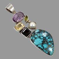 Turquoise Pendant, Amethyst, Citrine, Garnet, Peridot, Sterling Silver, Big Statement, Large, Vintage Pendant