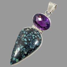 Turquoise Pendant, Purple Amethyst, Sterling Silver, Spiderweb Turquoise, Big Statement, Huge Pendant, Purple Stone, Vintage Pendant