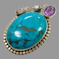 Turquoise Pendant, Moonstone, Amethyst, Pearl, Sterling Silver, Big Statement, Huge Large, Vintage Pendant