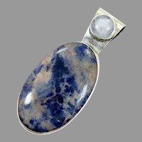 Sodalite Pendant, Moonstone, Vintage Pendant, Blue Stone, Sterling Silver, Big Stone, Large, Massive