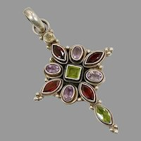 Gemstone Cross, Amethyst, Peridot, Garnet, Sterling Silver, Large, Mixed Stones, Red, Purple, Green, Ethnic