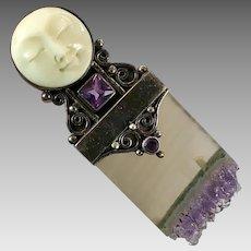 Goddess Pendant, Flourite, Sterling Silver, Vintage Pendant, Pin Brooch, Moon Goddess, Carved Bone Face, Amethyst, Iolite, Unique, Big
