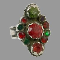 Old Silver Ring, Pakistan, Glass Jewels, Vintage Ring, Size 8, Red, Green, Swat Valley, Nomadic, Middle Eastern, Statement Ring