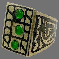 Afghan Ring, Silver, Black Ring, Green Jewels, Vintage Ring, Kuchi, Ethnic, Size 8, Middle Eastern, Mens, Mans