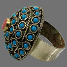 Big Kuchi Ring, Vintage Ring, Afghan Ethnic, Red, Turquoise, Domed Ring, Brass, Size 10 3/4, Massive, Mixed Metals, Boho