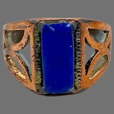 Lapis Ring, Kuchi Ring, Vintage Ring, Size 10, Afghan Ethnic, Nomad, Signet, Mens, Statement Ring, Middle Eastern, Boho