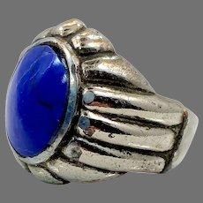 Lapis Ring, Kuchi Ring, Vintage Ring, Size 8, Middle Eastern, Afghan Ethnic, Silver, Etched, Nomad, Signet, Mens, Boho