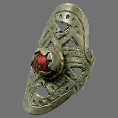Afghan Ring, Etched Silver, Vintage Ring, Red, Glass Jewels, Kuchi Ring, Size 7 1/2, Heavy Patina