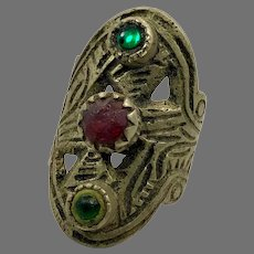 Afghan Ring, Vintage Ring, Red, Green, Glass Jewels,, Kuchi Ring, Size 7 1/2, Adjustable, Heavy Silver
