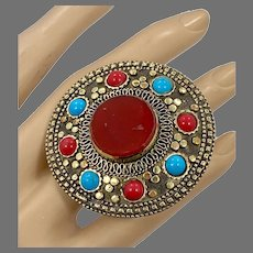 Big Kuchi Ring, Vintage Ring, Afghan Ethnic, Turkish, Red, Turquoise, Statement, Brass, Gypsy, Size 8 1/2, Massive, Mixed Metals, Boho