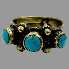 Turquoise Ring, Afghan Ring, Vintage Ring, Size 9 1/2, Brass, Kuchi Ring, Middle Eastern Jewelry