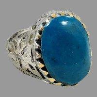 Turquoise Ring, Kuchi Ring, Vintage Ring, Size 9, Afghan Ethnic, Filagree, Nomad, Signet, Mens, Statement Ring, Middle Eastern, Boho