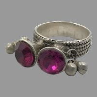 Old Silver Ring, Nomadic, Vintage Ring, Size 8 1/2, Fuchsia, Deep Pink, Glass Jewels, Middle Eastern, Swat Valley, Pakistan