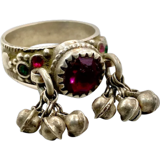 Gypsy Ring, Old Silver, Nomadic, Vintage Ring, Size 8, Red Pink, Dangles, Afghan, Pakistan, Middle Eastern, Unisex, Gypsy, Boho