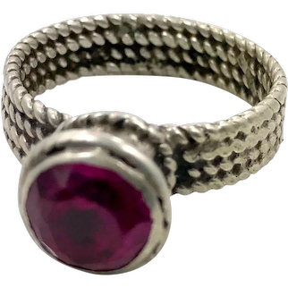 Deep Pink Ring, Old Silver, Vintage Ring, Size 9, Swat Valley, Pakistan, Middle Eastern, Unisex, Gypsy, Boho Jewelry