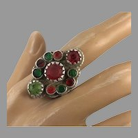 Afghan Ring, Old Silver Ring, Vintage Ring, Size 8 1/2, Kuchi, Gypsy, Nomadic Jewelry, Red, Green, Middle Eastern, Statement Ring