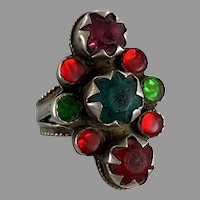 Old Silver Ring, Pakistan, Glass Jewels, Vintage Ring, Size 8 1/2, Red, Teal, Green, Long, Swat Valley, Nomadic, Middle Eastern, Statement