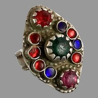 Afghan Ring, Old Silver Ring, Vintage Ring, Size 7, Kuchi, Gypsy, Nomadic Jewelry, Red, Green, Middle Eastern, Statement Ring