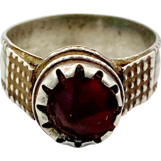 Red Ring, Old Silver, Ethnic, Vintage Ring, Size 8, Swat Valley, Pakistan, Middle Eastern, Afghan, Unisex, Gypsy, Boho Jewelry