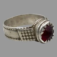 Red Ring, Old Silver, Vintage Ring, Size 9, Swat Valley, Pakistan, Middle Eastern, Unisex, Gypsy, Boho Jewelry
