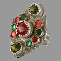 Old Silver Ring, Pakistan, Glass Jewels, Vintage Ring, Size 8 1/2, Red, Green, Long, Swat Valley, Nomadic, Middle Eastern, Statement Ring