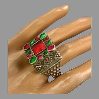 Old Silver Ring, Pakistan, Vintage Ring, Size 8, Red Glass, Green, Pakistan, Swat Valley, Afghan, Middle Eastern, Statement Ring