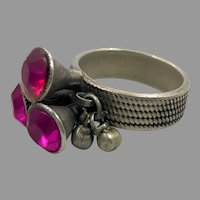 Old Silver Ring, Middle Eastern, Vintage Ring, Size 9 1/2, Pink, Glass Jewels, Nomadic, Swat Valley, Pakistan, Statement Ring, Afghan