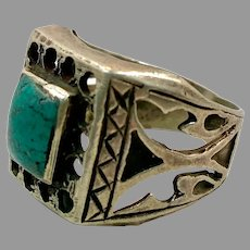 Turquoise Ring, Afghan Ring, Old Silver, Vintage Ring, Size 7 3/4, Signet Style, Mens Ring, Pakistan, Middle Eastern