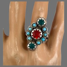 Old Silver Ring, Pakistan, Glass Jewels, Vintage Ring, Size 9 1/2, Turquoise, Red, Swat Valley, Nomadic, Middle Eastern, Statement Ring