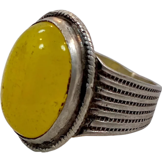 Ethnic Ring, Old Silver, Vintage Ring, Size 7 1/4, Deep Yellow Glass, Pakistan, Middle Eastern, Mans Ring, Gypsy