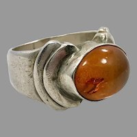 Honey Amber Ring, Sterling Silver, Vintage Ring Statement Ring, Oval Stone, Size 6 1/2, Modern, Contemporary, Mens Pinky Ring