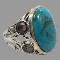 Turquoise Ring, Sterling Silver, Smoky Quartz, Barse, Designer, Vintage Ring, Thailand, Big Stone, Size 10