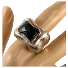 Black Onyx Ring, Sterling Silver, Vintage Ring, Size 8 1/2 Faceted Stone, Black Stone Ring