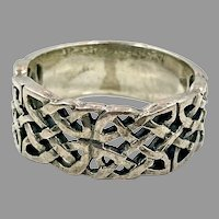 Celtic Knot Ring, Sterling Silver, Celtic Band, Vintage Ring, Irish Jewelry, 925, Size 9 1/2, Irish Wedding Band, Wide, Thumb Ring